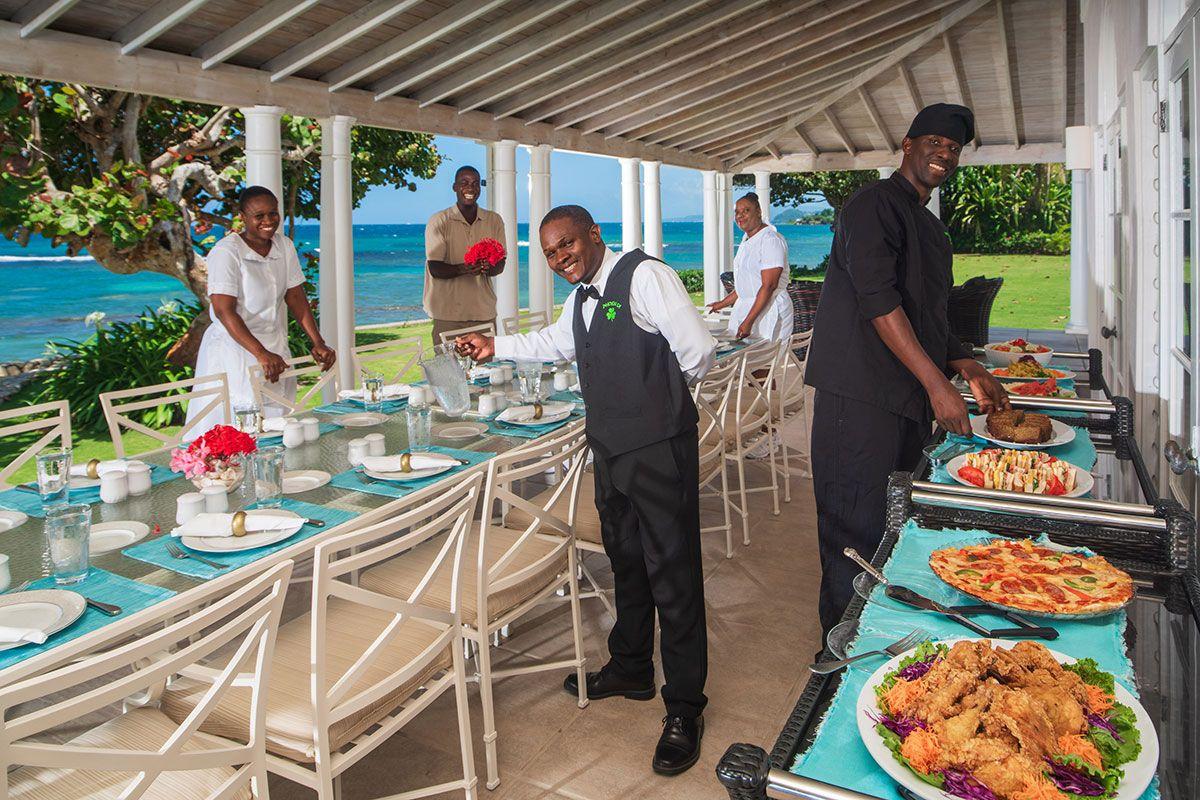 Staff preparing a meal.